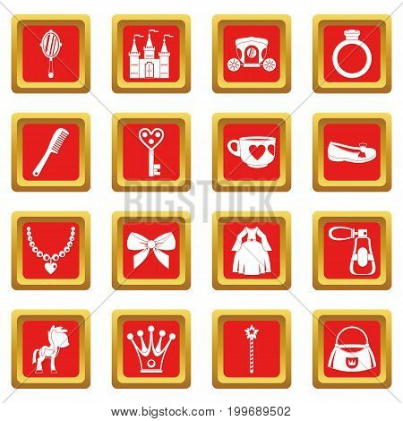 Doll princess items icons set in red color isolated vector illustration for web and any design