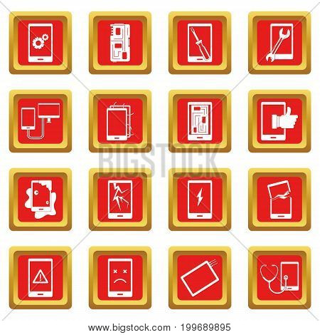 Device repair symbols icons set in red color isolated vector illustration for web and any design
