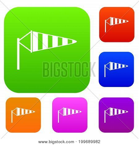Windsock set icon in different colors isolated vector illustration. Premium collection