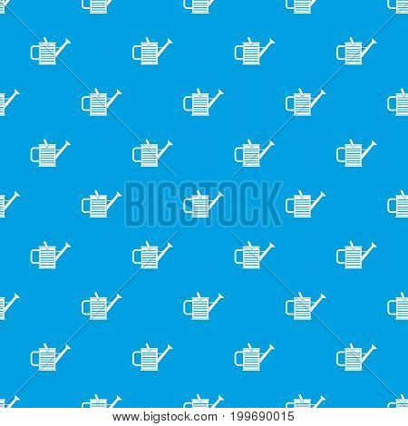 Watering can pattern repeat seamless in blue color for any design. Vector geometric illustration