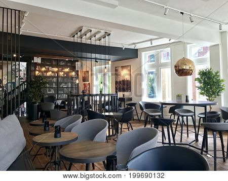 LONDON - AUGUST 14, 2017: Interior of Joe & The Juice coffee and juice cafe in Richmond, London, UK.