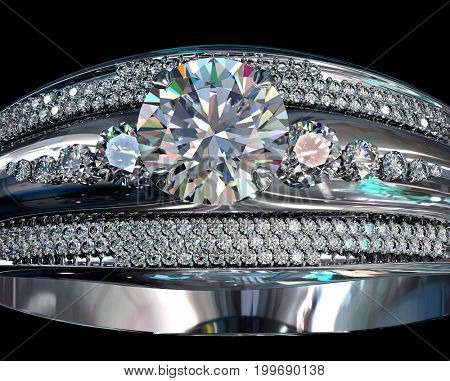 Silver band for engagement with gem Top view of diamond facetes luxury jewellery bijouterie ring from white gold or platinum with gemstone 3D rendering on black background.Close-up of sparkling stones