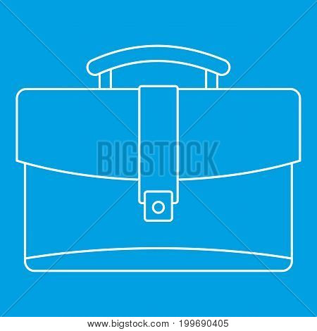 Leather briefcase icon blue outline style isolated vector illustration. Thin line sign