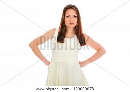 The portrait of angry young woman isolated on white.