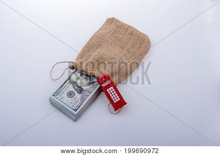 Telephone Booth  And Bundle Of Dollar
