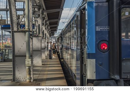 Fast train with passengers in Prague main station