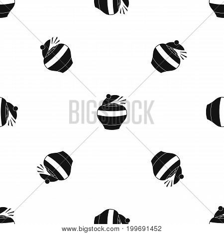 Pot full of gold coins pattern repeat seamless in black color for any design. Vector geometric illustration