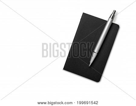 Blank Note Book With Pen. Isolated On White.