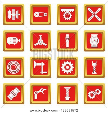 Techno mechanisms kit icons set in red color isolated vector illustration for web and any design