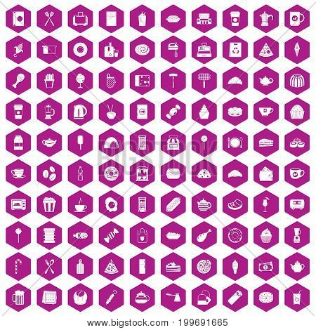 100 cafe icons set in violet hexagon isolated vector illustration