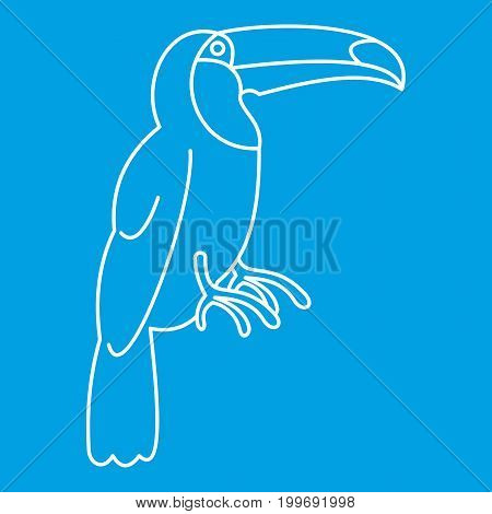 Toucan icon blue outline style isolated vector illustration. Thin line sign