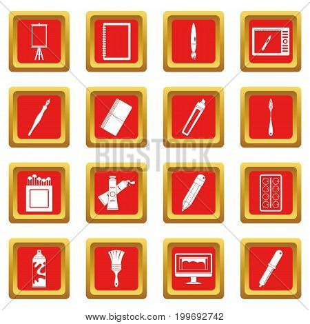 Design and drawing tools set. Simple illustration of 16 design and drawing tools vector icons set in red color isolated vector illustration for web and any design