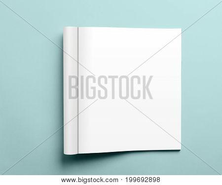 Blank Open Magazine Isolated On Aqua Background