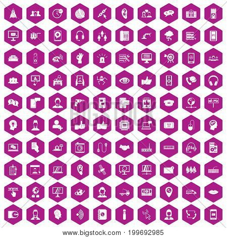 100 call center icons set in violet hexagon isolated vector illustration