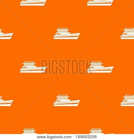 Great powerboat pattern repeat seamless in orange color for any design. Vector geometric illustration