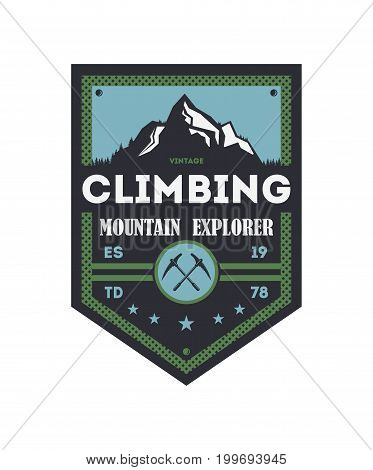 Mountain explorer vintage isolated badge. Outdoor discovery sign, touristic expedition label, nature hiking and trekking vector illustration