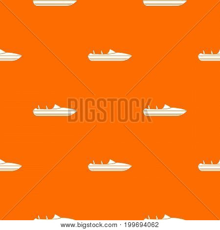 Little powerboat pattern repeat seamless in orange color for any design. Vector geometric illustration
