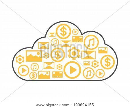 Cloud storage linear style icon. Network cloud service, global data safety, financial system protection, online data backup vector illustration.