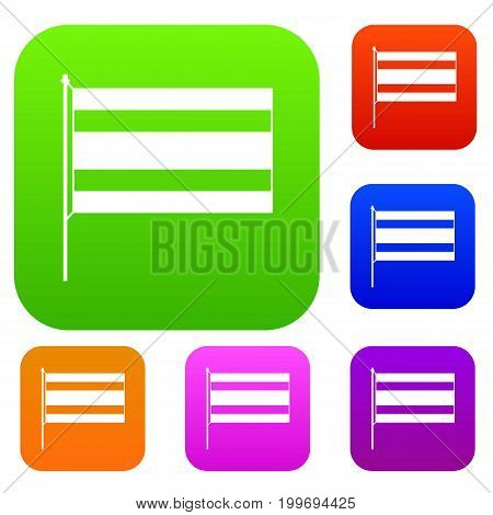 Flag set icon in different colors isolated vector illustration. Premium collection