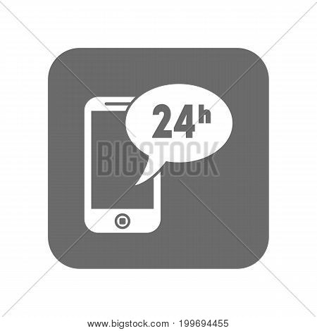 Customer service icon with smartphone. Support management, service centre pictogram isolated vector illustration.