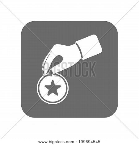 Customer service icon with human hand. Support management, service centre pictogram isolated vector illustration.