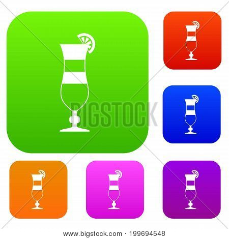 Cocktail set icon in different colors isolated vector illustration. Premium collection