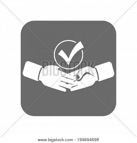 Customer service icon with handshake sign. Support management, service centre pictogram isolated vector illustration.
