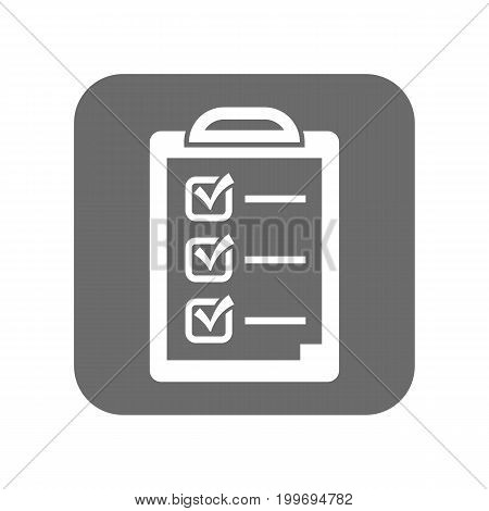 Customer service icon with checklist sign. Support management, service centre pictogram isolated vector illustration.