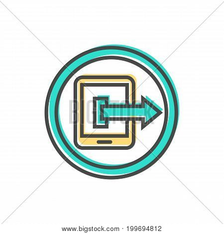 Data sorting icon with tablet PC sign. Data analysis, business analytics pictogram isolated vector illustration.