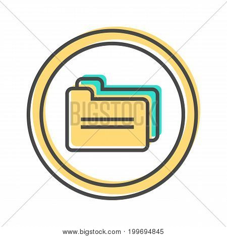 Data sorting icon with document folder sign. Data analysis, business analytics pictogram isolated vector illustration.
