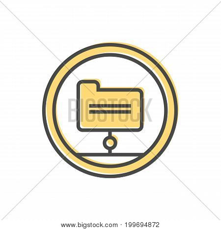 Data sorting icon with folder sign. Data analysis, business analytics pictogram isolated vector illustration.