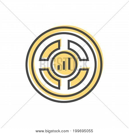 Data sorting icon with graph sign. Data analysis, business analytics pictogram isolated vector illustration.