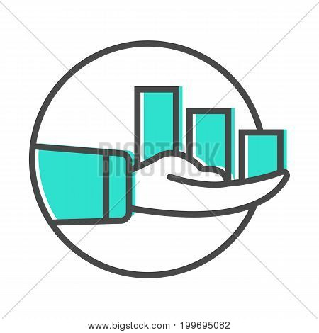 Data stream icon with chart in human hand sign. Financial data analysis, business analytics pictogram isolated vector illustration.
