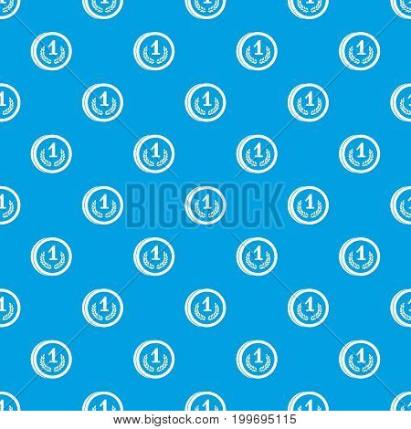 Coin pattern repeat seamless in blue color for any design. Vector geometric illustration