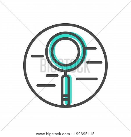 Data stream linear icon with magnifier sign. Financial data analysis, business analytics pictogram isolated vector illustration.
