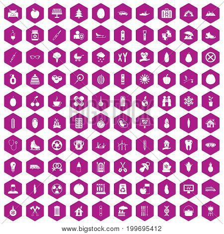 100 child health icons set in violet hexagon isolated vector illustration