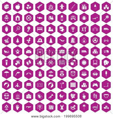 100 childhood icons set in violet hexagon isolated vector illustration