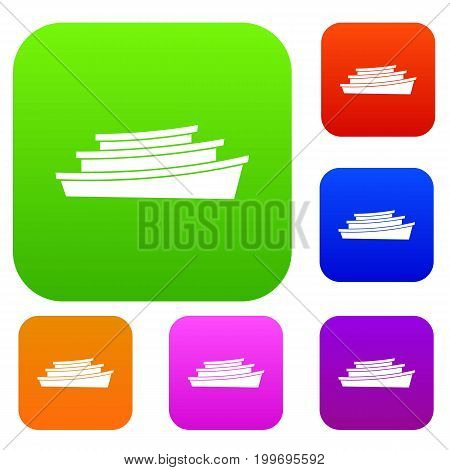 Wooden boat set icon in different colors isolated vector illustration. Premium collection