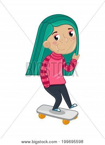 Smiling little girl riding on skateboard. Interesting children life, happy childhood, emotion kid cartoon character isolated on white background vector illustration.