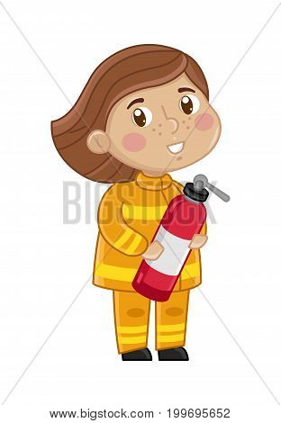 Girl in firefighter uniform with fire extinguisher. Professional occupation concept, happy childhood, emotion kid cartoon character isolated on white background vector illustration.