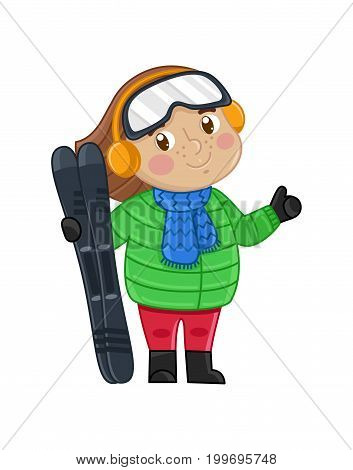 Smiling little girl in winter clothes holding skis. Interesting children life, happy childhood, emotion kid cartoon character isolated on white background vector illustration.