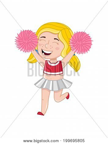 Smiling cheerleader girl with pom-poms. Interesting children life, happy childhood, emotion kid cartoon character isolated on white background vector illustration.