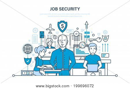 Job security concept. Data security, comfortable work, protection of employees and information, protection of operations and software. Teamwork. Illustration thin line design of vector doodles.