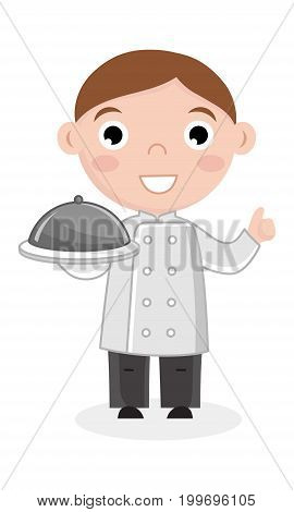 Little boy in cook uniform with dish. Professional occupation concept, happy childhood, emotion kid cartoon character isolated on white background vector illustration.