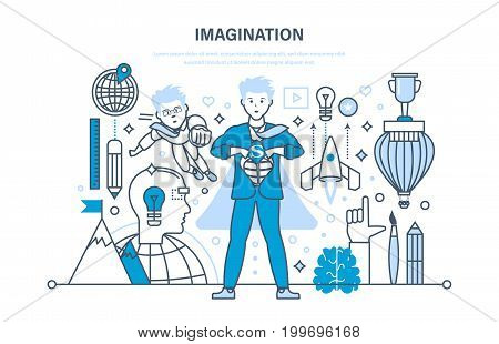 Imagination concept. Innovation technology, brain training, brainstorming and creative thinking. Education, start up, training. Illustration thin line design of vector doodles, infographics elements.