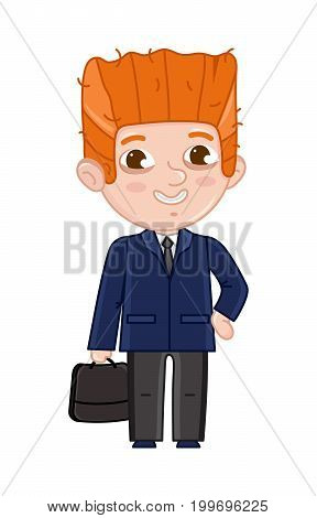Smiling little boy in business suit and tie. Professional occupation concept, happy childhood, emotion kid cartoon character isolated on white background vector illustration.