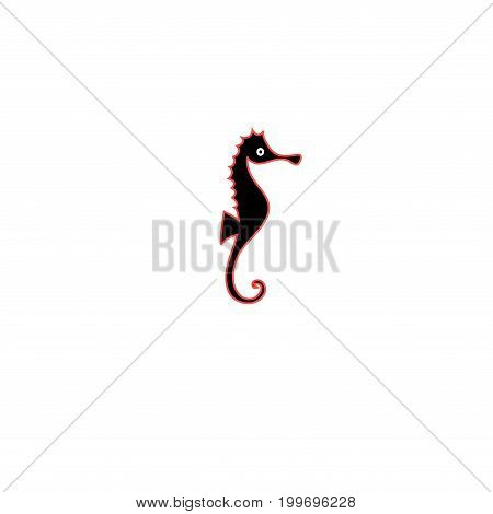 Graphics silhouette icon of sea horse on white background