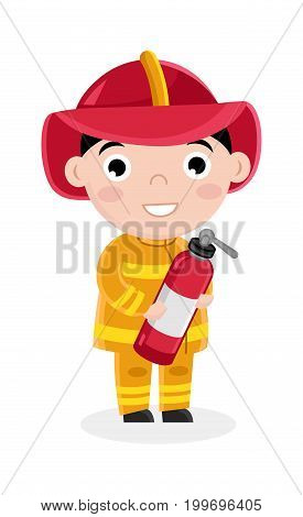 Boy in fireman uniform with fire extinguisher. Professional occupation concept, happy childhood, emotion kid cartoon character isolated on white background vector illustration.