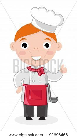 Little boy in cook uniform with ladle. Professional occupation concept, happy childhood, emotion kid cartoon character isolated on white background vector illustration.
