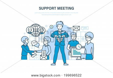 Support meeting. Communications, partnership, teamwork, collaboration office workers, cooperation. Marketing and integrated approach to discussion. Illustration thin line design of vector doodles.